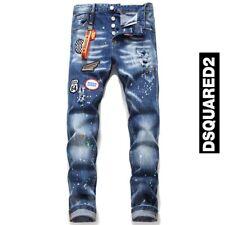 Dsq2 Jeans strappati da uomo Patch Jeans lavati DSQUARED2 ricamo personalità