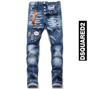 Men's Personality patch Embroidered  Jeans Slim Fit Men's DSQ2 Washed Denim Pant