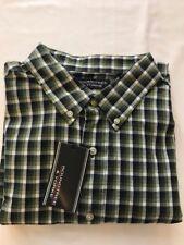 XXL Roundtree & Yorke Long Sleeve Button Down Shirt, Green & Blue Check