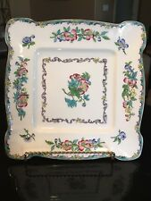 """MINTON Porcelain Square 9"""" Cake Plate Cream white, hand painted (1912-1951)"""