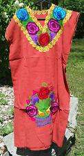 Maya Mexican Dress Embroidered Flowers Chiapas Puebla Maroon Brick Red Large RK