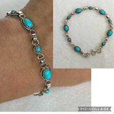 """VTG Sterling Silver 925 Turquoise Link Bracelet Signed RLE Sterling 8"""" Southwest"""
