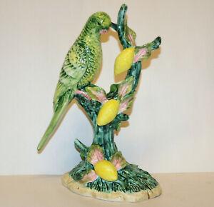 """Vintage Sculpture - Parrot in Lemon Tree - Hand Modelled Porcelain Figurine 10"""""""
