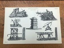 victorian print - ancient artillery .plate 1
