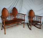 Antique Victorian Carved Oak Set ? Bench with matching Rocking Chair