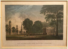 Vintage colored engraving of Yale College and State House - Dutch