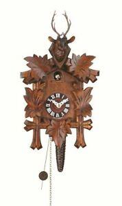 German Cuckoo Clock 1 day movement 5 leaves deer head Quarter Call 10 inch