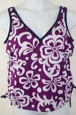 NEW Swimsuit *Top Only* Adjustable Cinched Tie Sides Water Aerobics Plus 16 16w