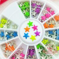 Mix neon colors Star shape nail studs 3D Design Manicure Wheel