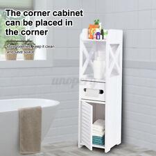 White Bathroom Toilet Storage Cabinet Waterproof Organizer Standing Rack Corner