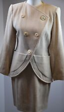 Yves Saint Laurent Encore Women's Skirt Suit Sz 8 Wool Blend Double Breast Cream
