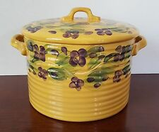 """Tabletops Unlimited Le Provance Serving Pot Tureen w/ Lid 6"""" high yellow purple"""