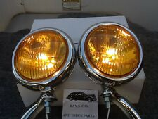 NEW PAIR OF 12 VOLT SMALL VINTAGE STYLE FOG LIGHTS WITH CHROME BRACKETS !