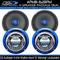 4 Audiopipe AMPB-628PM 6″ Slim Midrange Speaker 4 ohm Pro Car Audio Mid 2 Pair
