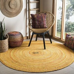 natural Indian Handmade Braided Bohemian yellow look Cotton Area Rug Round Rug