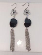 Crystal Tassell Dangle Earrings. Formal Black/Clear Flower Shaped