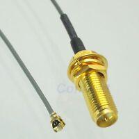 RP-SMA female plug center nut bulkhead to IPX U.fl 1.37 pigtail cable 17mm screw
