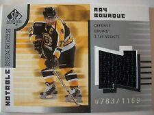2001-02 SP AUTHENTIC JERSEY , RAY BOURQUE #'D 783 / 1169  BRUINS  !!BOX # 7