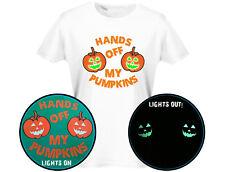 Hands Off My Pumpkins Glow In Dark Womens Halloween T-Shirt (12 Colours)