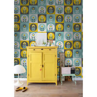Retro floral Removable wallpaper yellow and blue wall mural wall covering