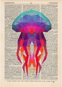 Jellyfish Geometric Dictionary Art Print Vintage Minimalist polygonal