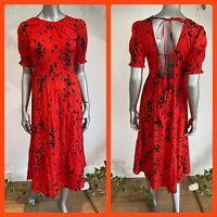 Influence Dress Size 8,12,18 & 22 Red Tiered Smock Open Back Spot Print HA101