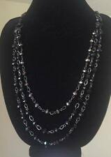 NEW BEADED BLACK TONE LONG NECKLACE JEWELRY CHAIN