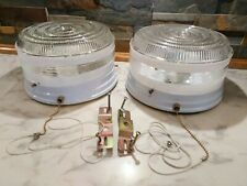2 VINTAGE FLUSH MOUNT PULL CHAIN CEILING LIGHT FIXTURES CLEAR & MILK GLASS