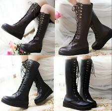 Chic Ladies Platform Creeper Lace Up Punk Gothic Knee High Boots Rock Shoes Size
