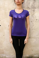 GAS Glittered Logo Womens T-Shirt Top Stretch Purple Short Sleeved Tee S Small
