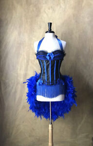 Blue  Moulin/Showgirl/Mardi Gras/Carnival/Circus Burlesque Costume Feather