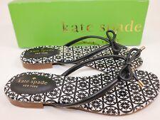 NIB KATE SPADE Size 6.5 Women's Black Calf Leather MISTIC Bow T-Strap Sandal