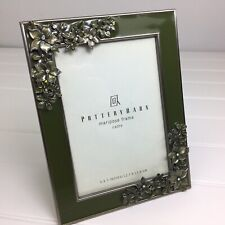 "Pottery Barn Mariposa Photo Frame Green & Silver with Flowers 5x7"" New"