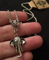 "Indian Elephant Necklace Bohiemian Bollywood Animal Pendant Silver 18"" Ganesh"