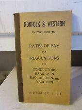 VINTAGE ESTATE FIND 1911 NORFOLK AND WESTERN RATES OF PAY BOOKLET