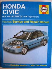 Haynes service and repair manual - Honda Civic Nov 1991 to 1996