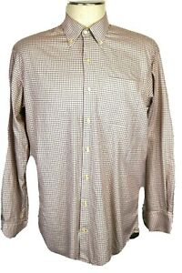Peter Millar Men's Large Long Sleeve Check Shirt, white, blue, orange & brown