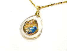 Bijou alliage  doré collier pendentif lucite vierge à l'enfant necklace