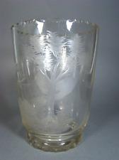 Antik Glas Vase geschliffene Ansicht & Auerhahn Mitte 19. Jahrhundert