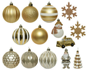 Pack of 25 Gold And White Shatterproof Mixed Christmas Baubles Set Golden Lux