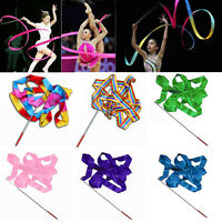 EG_ 4M DANCE RIBBON GYM RHYTHMIC ART GYMNASTIC STREAMER TWIRLING ROD STICK TEMPT