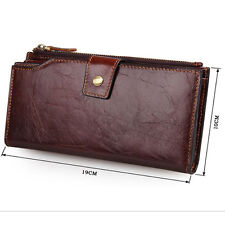 Men's Vintage Genuine Leather Long Bifold Wallet Money Card Holder Clutch Purse.