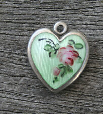 VINTAGE STERLING SILVER PUFFY HEART CHARM - Lampl Green Guilloche & Pink Rose