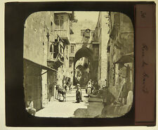 Photo Plaque de Verre Positive Jerusalem rue de David Vers 1880/90