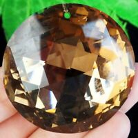 45x14mm Faceted Coffee Titanium Crystal Round Pendant Bead A35453
