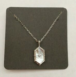 Genuine 925 Sterling Silver Diamond shaped Shell Pendant Necklace