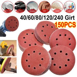 "150 X 125mm- 5"" Sanding Discs 40 60 80 120 240 Mixed Grit Orbital Sander 8 Hole"