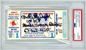 "Bob Gibson Signed World Series Ticket ""10 K's/Winning Pitcher/1967 WS MVP"" PSA"