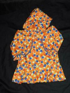 Alaska Native Eskimo Kuspuk Little Girls S Orange Blue Floral Tunic Dress w Hood
