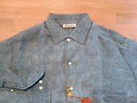 465$ Loro Piana Blue Turquoise Linen Long Sleeve Shirt Size Medium Made in Italy